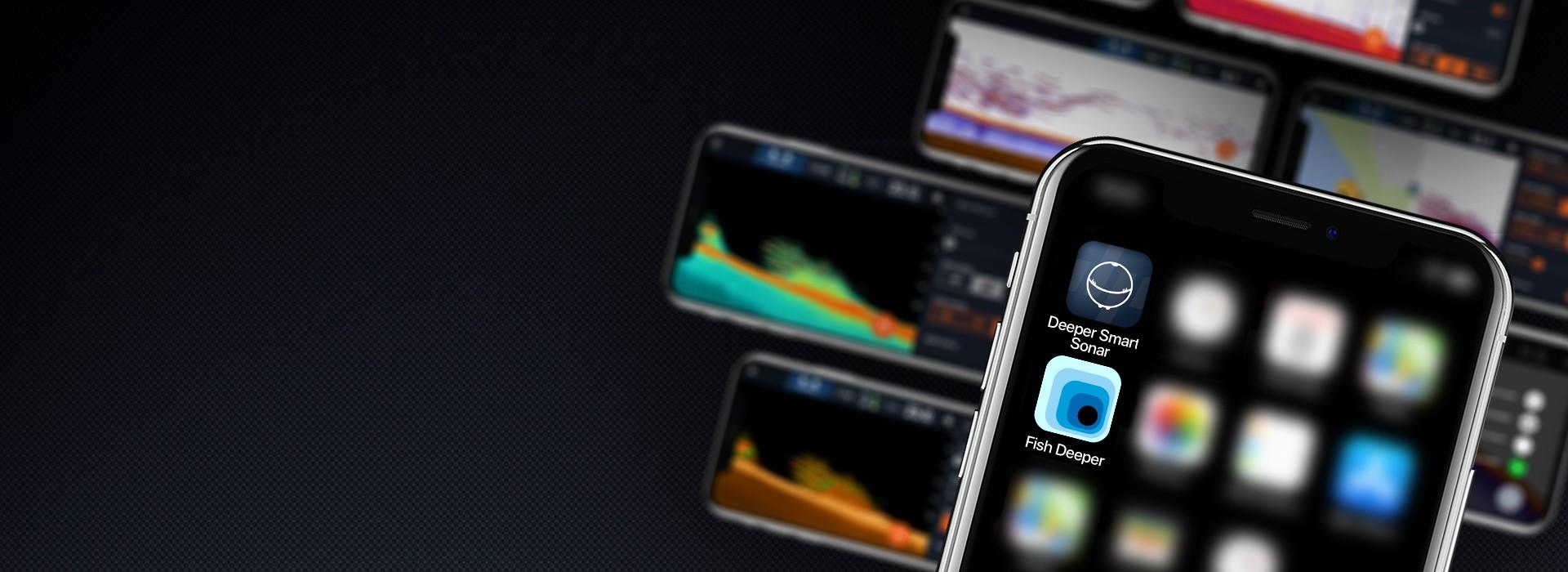 Aplikace DeeperDvě aplikace. Řada rybářských možností.