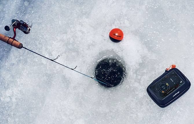 ice fishing with winter case