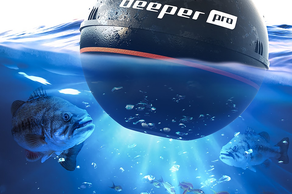 Deeper Pro Fishfinder with fish